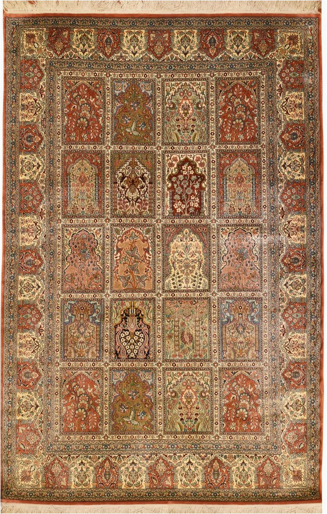 6x4 qum pure silk hamdan area rug carpet tree of life oriental hand knotted