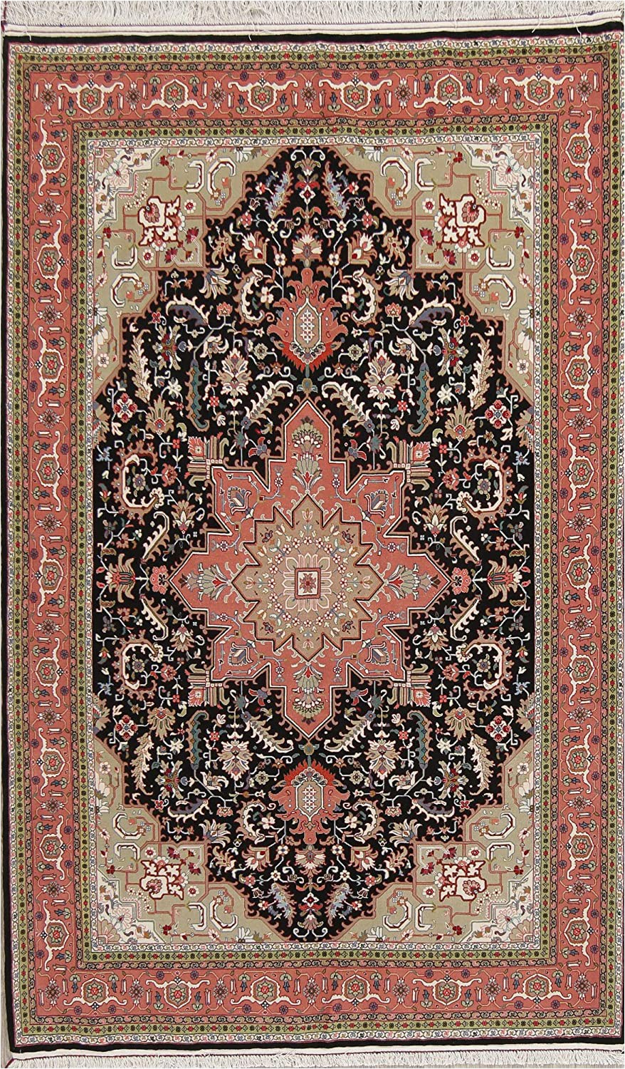 Wool and Silk area Rugs Amazon E Of A Kind New Tebriz Geometric Hand Knotted