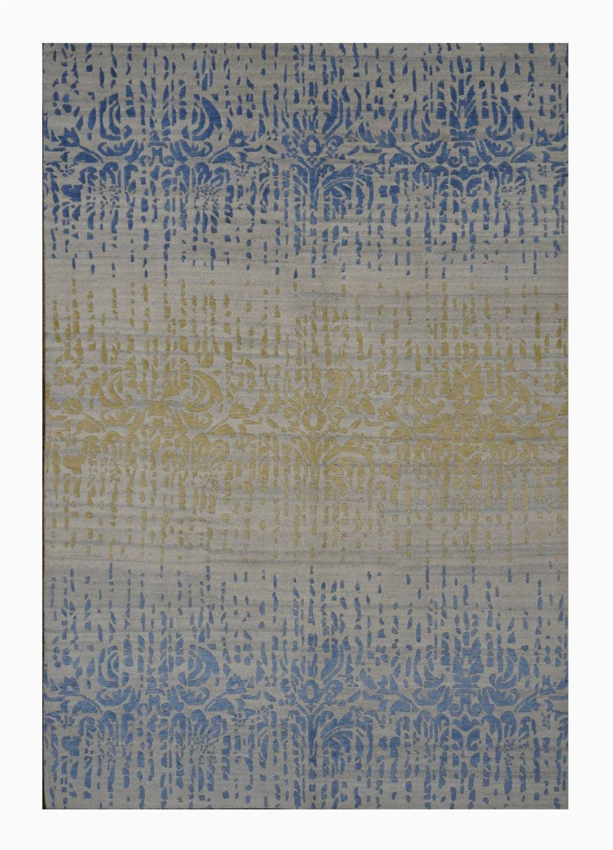 area rugs modern contemp indo nepal wool silk 6x9 blue gold