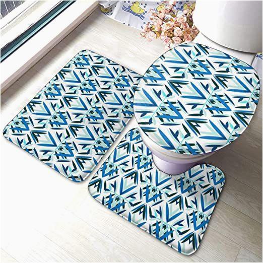 Art Deco Bath Rug Blue Art Deco Pattern Bathroom Rugs and Mats Sets Bathroom