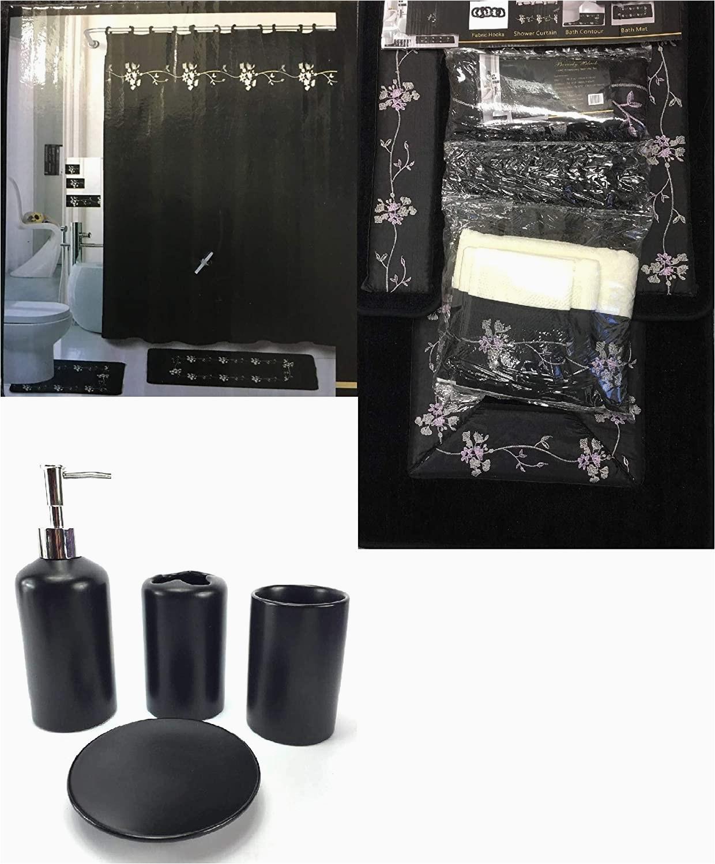 Black Bath Rug Set Wpm 22 Piece Bath Accessory Set Beverly Black Flower Bath Rug Set Shower Curtain Accessories