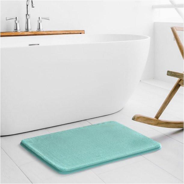 Walmart Memory Foam Bath Rugs Mainstays 17 X 24 Faux Fur Memory Foam Bath Rug In Aqua
