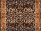 12 Ft Round area Rugs Due Process Stable Trading Bengal Sarouk Navy & Salmon area