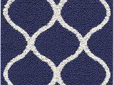 "2 X 5 Bathroom Rug Maples Rugs Rebecca Contemporary Runner Rug Non Slip Hallway Entry Carpet [made In Usa] 1 9"" X 5 Navy Blue White"