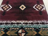 24 X 40 area Rug southwest Native American area Rug Carpet Burgundy Red Green 24 Inch X 40 Inch Mat