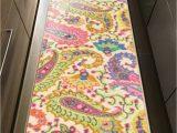 "24 X 48 Bathroom Rugs Kapaqua Rubber Backed 22"" X 48"" Paisley Floral Multicolor"