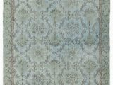 """24 X 60 area Rugs Blue Over Dyed Turkish Vintage Rug 5 X 9 7"""" 60 In X 115 In"""