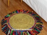 3 Foot Round area Rugs 3 Ft Round Sisal Jute Colorful Fringed area Rug