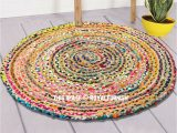 3 Ft Round area Rugs 3 Ft Bohemian Round Natural Jute Chindi area Rug