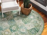 3 Ft Round area Rugs Madeline Green Vintage 3 Ft Round area Rug In 2020