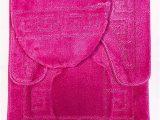 "3 Piece Bathroom Rugs 3 Piece Bath Rug Set Pattern Bathroom Rug 20""x32"" Contour Mat 20""x20"" with Lid Cover Hot Pink"
