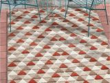 """3 X 5 Outdoor area Rug Well Woven Miami Red Indoor Outdoor Triangles area Rug 5×7 5 3"""" X 7 3"""" High Traffic Stain Resistant Modern Geometric Carpet"""