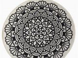 """30 Inch Round Bath Rug Black Mandala Round Home Decor Rug soft Bath Mat Eco Friendly Gift for Her 2 Different Diameters 39"""" and 55"""""""
