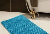 36 Inch Square Bath Rug Saffron Fabs Bath Rug Cotton and Microfiber Size 50x30inch Round Loop Bubbles Pattern Latex Spray Non Skid Backing solid Arctic Blue Color