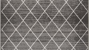 """3×5 area Rugs with Rubber Backing Well Woven Non Skid Slip Rubber Back Antibacterial 3×5 3 3"""" X 4 7"""" Diamond Lattice Print Grey Thin Low Pile Machine Washable Indoor Outdoor area Rug"""