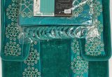 4 Piece Bath Rug Set 4 Piece Bathroom Rugs Set Non Slip Teal Gold Bath Rug toilet Contour Mat with Fabric Shower Curtain and Matching Rings Florida Teal