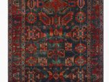 """4 X 10 area Rug E Of A Kind Sherilyn Hand Knotted Red Navy 4 2"""" X 10 4"""" Runner Wool area Rug"""