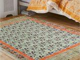 4 X 6 Ft area Rugs White & orange Block Print Bohemian Floral Cotton area Rug 4×6 Ft