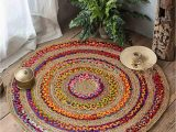 48 Inch Round area Rugs Hand Braided Circular 5 X 5 area Rugs for Living Room Natural Jute Bedroom Rugs