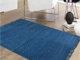 4×6 area Rugs Blue Polka Dots Printed Cotton Indigo Blue area Rug 4×6 Ft