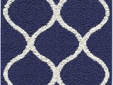 "5 Ft Bath Runner Rug Maples Rugs Rebecca Contemporary Runner Rug Non Slip Hallway Entry Carpet [made In Usa] 1 9"" X 5 Navy Blue White"