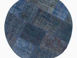 5 Round Blue Rug K Blue Round Over Dyed Turkish Patchwork Rug 5 1