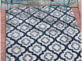 "5 X 7 Outdoor area Rugs Tangier Blue Indoor Outdoor Moroccan Trellis area Rug 5×7 5 3"" X 7 3"" High Traffic Stain Resistant Modern Traditional Carpet"