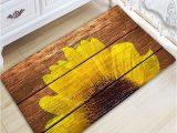 54 Inch Bath Rug Sunflower Wood Grain Flannel Skidproof Bath Mat