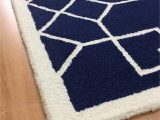 5×8 Navy Blue Rug Handmade Wool Modern Navy Blue Ivory 5×8 Lt1274 area Rug