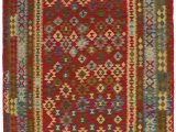 """6 by 10 area Rugs Alia Handwoven Flatweave 6 6"""" X 10 Wool Red Green area Rug"""