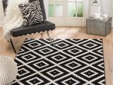 """6×9 Black and White area Rug Summit 046 Black White Diamond area Rug Modern Abstract Many Sizes Available 4 10"""" X 7 2"""""""