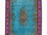 7 by 11 area Rugs E Of A Kind Crowne Hand Knotted 1960s Turkish Brown Fuchsia Turquoise 7 X 11 area Rug