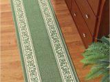 72 Inch Bath Rug Runner Extra Long Floral Border Sage Floor Rug Skid Resistant