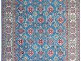 7×9 Blue area Rug Shal Hand Knotted 117×9 Wool Kazak area Rug 359×275 Cm oriental C
