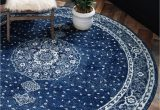 8 Ft Round Rug Blue Dover Navy Blue Vintage 8 Ft Round area Rug In 2020