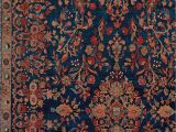 Antique Blue oriental Rug Antique Persian Manchester Kashan Indigo Floral Decorative