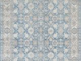 Antique Blue oriental Rug Silver ash Gray Ivory Light Blue Faded oriental Distressed