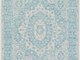 Aqua and White area Rug Suzanne Faded Medallion In Aqua and White with Images