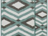 Aqua Bath Rug Sets Biscay Rectangle Non Slip Geometric 2 Piece Bath Rug Set