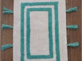 Aqua Rug Bath Mat Bath Mat Tub Rug Blue White Cotton 17 X 25 Thick