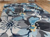 Area Rug Gray Blue Modern Large Floral Non Slip Non Skid area Rug 8 X 10 7 10 X 10 Gray Blue