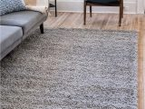 Area Rugs 30 X 45 Unique Loom solo solid Shag Collection Modern Plush Cloud Gray area Rug 5 0 X 8 0