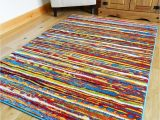 Area Rugs that Don T Shed Multi Coloured Stripe Funky Bright Modern Thick soft Heavy Quality area Rug Small Large Rug New Modern soft Navy Yellow Blue Red Carpet Non Shed Hall