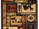 """Area Rugs with Animals On them Hr Cabin Rug–lodge Cabin Nature and Animals area Rug–modern Geometric Design Cabin area Rug–abstract Multicolor Design– Moose Bear Fish 7 6"""" X"""