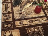 """Area Rugs with Animals On them Hr Lodge Cabin Nature and Animals area Rug– 5 2"""" X 7 2"""" Geometric Design Cabin area Rug–abstract Moose Kayak Fishing Equipment Big Fish"""