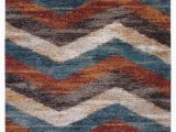 """Area Rugs with Blue and Browns Rectangle Abacasa Granada Chevron area Rug Blue Brown Rust Ivory 63""""x90"""""""