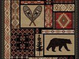 "Area Rugs with Deer On them Rustic Lodge Bear Moose Deer Panel 5×8 Red area Rug 5 3""x7 7"" 6913"