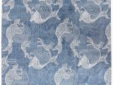 Area Rugs with Fish On them Fish Design Hand Knotted Wool Blue Indoor area Rug