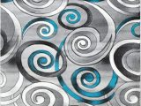 Area Rugs with Grey and Turquoise Spiral Swirls Modern Contemporary Hand Carved area Rug