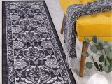 """Area Rugs with Non Slip Backing Antep Rugs Casa Azul Collection Geometric Floral Non Skid Non Slip Low Profile Pile Rubber Backing Indoor area Rug Grey 1 8"""" X 4 11"""""""